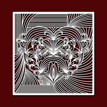 濃い赤色の背景ベクトルイラストで装飾的な心を持つレーザー切断正方形フレーム