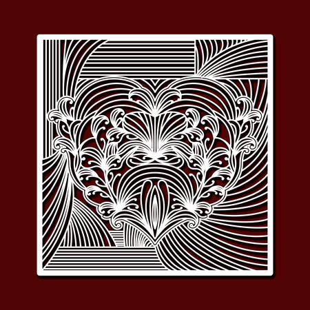 laser cutting square frame with decorative heart in dark red color background vector illustration