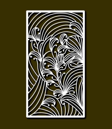 laser cutting rectangular frame with floral design in olive color background vector illustration