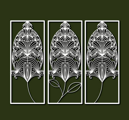 laser cutting rectangular frames with decorative feather forms in olive color background vector illustration Illustration