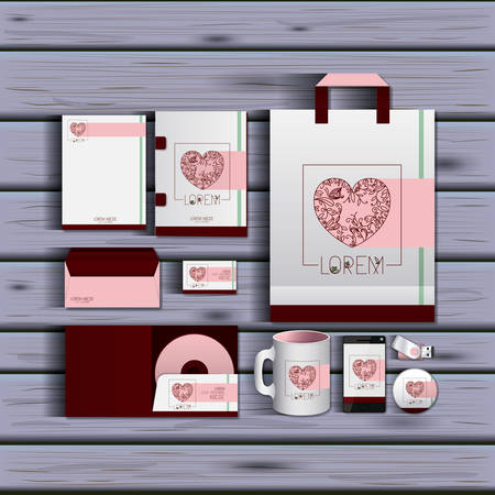 stationary templates of documentation romantic date design of business stationery over wooden background vector illustration  イラスト・ベクター素材