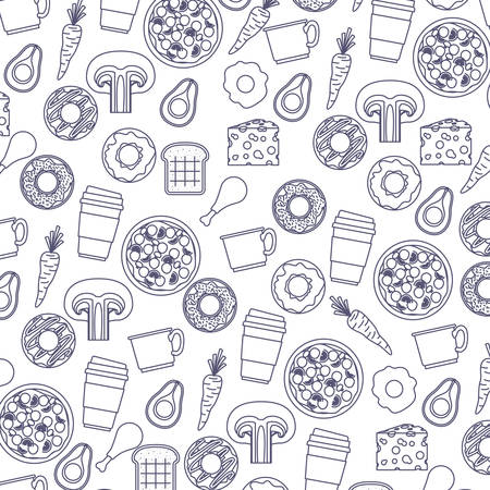 food pattern in blue color silhouette in white background vector illustration