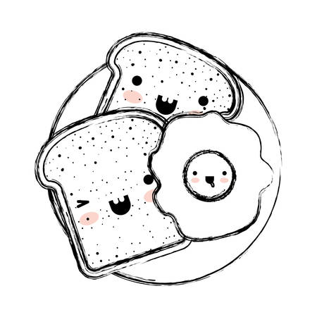 Kawaii bread slices and fried egg on dish in monochrome blurred silhouette vector illustration