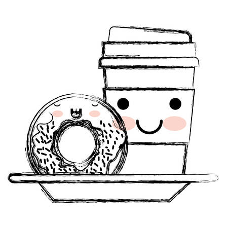 Kawaii disposable coffee cup and donut cream glazed in monochrome blurred silhouette vector illustration