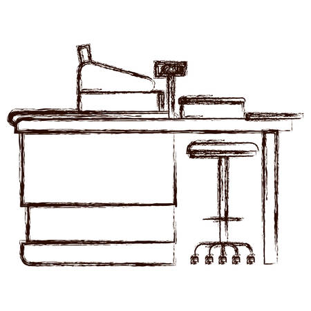 Supermarket pay point with cash register in brown blurred silhouette, vector illustration.