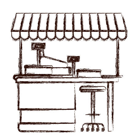 supermarket shelf with weighing machine and cash register point with sunshade in brown blurred silhouette vector illustration