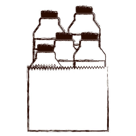 paper bag with milk bottles in brown blurred silhouette vector illustration