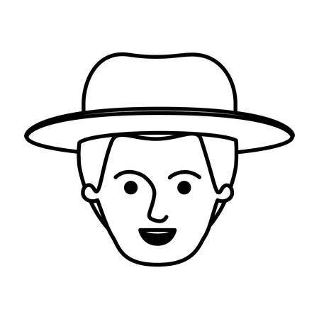 male young face with hat in monochrome silhouette vector illustration Illustration