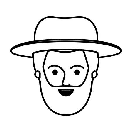 male face with short hair and hat and full beard style in monochrome silhouette vector illustration Illustration