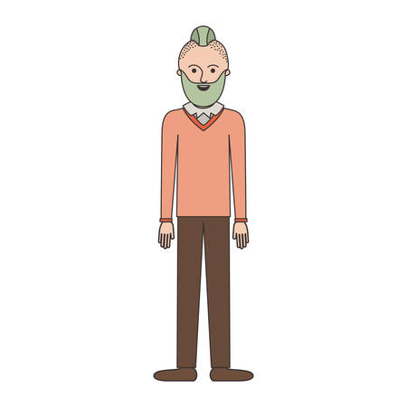 man full body with beard and sweater and pants and shoes with taper fade haircut in colorful silhouette vector illustration