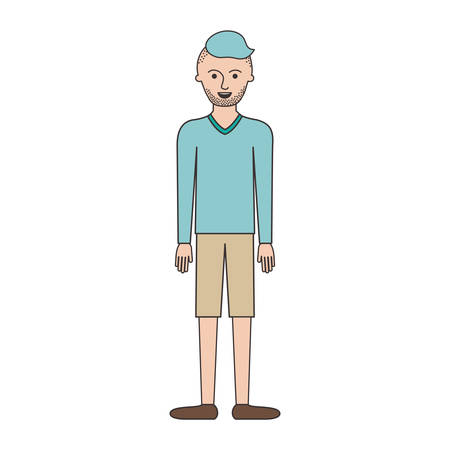man full body with t-shirt long sleeve and short pants and shoes with high fade haircut and stubble beard in colorful silhouette vector illustration