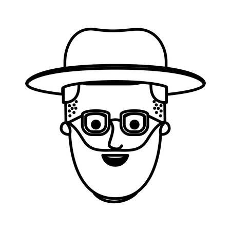 male face with glasses and undercut hair and hat and beard in monochrome silhouette vector illustration Illustration