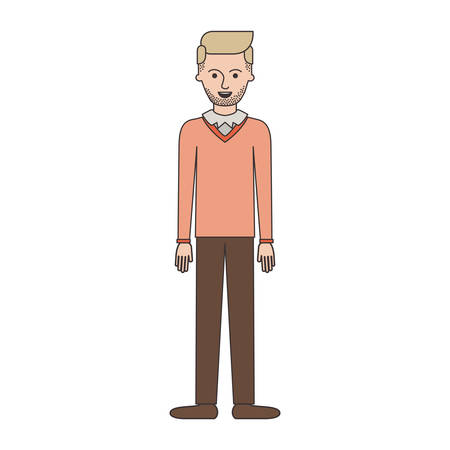 man full body with stubble beard and sweater and pants and shoes with side parted hairstyle in colorful silhouette vector illustration