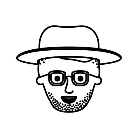 male face with glasses and undercut hair and hat and beard style long stubble in monochrome silhouette vector illustration