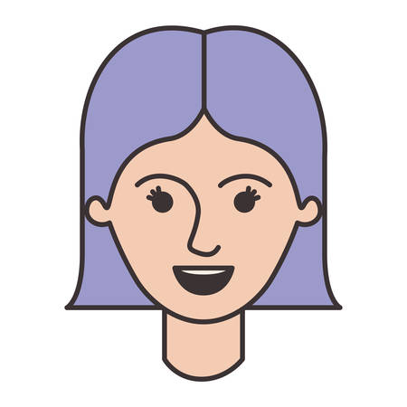 female face with short straight hairstyle in colorful silhouette vector illustration