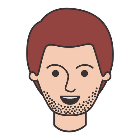 male face with short hair and stubble beard in colorful silhouette vector illustration