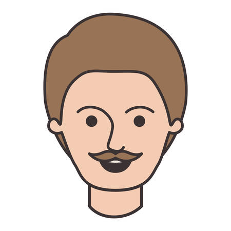 male face with short hair and moustache in colorful silhouette vector illustration