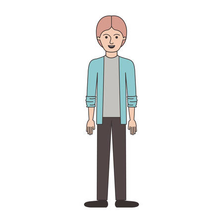 man full body with shirt and jacket and pants and shoes with middle part hairstyle in colorful silhouette vector illustration Vectores