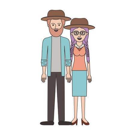 couple colorful silhouette and both with hat and him with beard and shirt and jacket and pants and shoes and her with glasses blouse and skirt and heel shoes with braided hair vector illustration