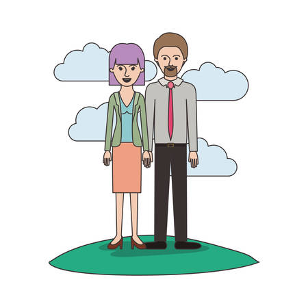 couple colorful scene outdoor and her with blouse and jacket and skirt and heel shoes with mushroom hairstyle and him with shirt and tie and pants and shoes with short hair and goatee beard vector illustration