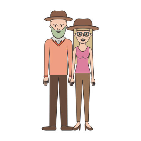 couple colorful silhouette and both with hat and him with beard and sweater and pants and shoes and her with glasses t-shirt sleeveless and pants and heel shoes with long straight hair vector illustration