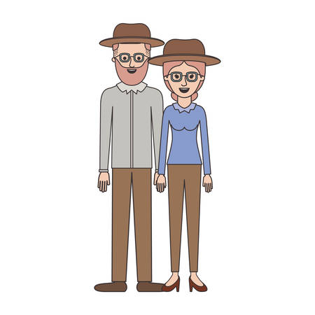 couple colorful silhouette and both with hat and glasses and him with beard and shirt and pants and shoes and her with blouse long sleeve and pants and heel shoes with collected hair vector illustration