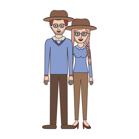 Couple with hat, glasses and pants Stock Vector - 92028953