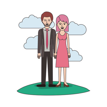 couple colorful scene outdoor and him with suit and tie and pants and shoes with short hair and stubble beard and her with dress and heel shoes with mid length hair vector illustration