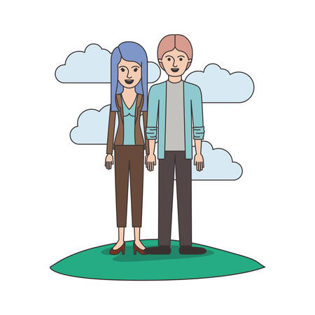 couple colorful scene outdoor and her with blouse and jacket and pants and heel shoes with layered hair and him with shirt and jacket and pants and shoes with middle part hairstyle vector illustration Vectores
