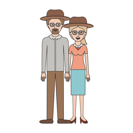 couple colorful silhouette and both with hat and glasses and him with goatee beard and shirt and pants and shoes and her with blouse and skirt and heel shoes with ponytail hairstyle vector illustration Vectores