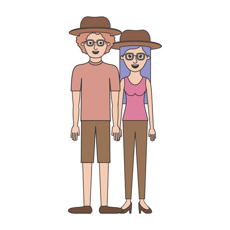 couple colorful silhouette and both with hat and glasses and him with shirt and short pants and shoes and curly hair and her with blouse and pants and heel shoes with long straight hair vector illustration