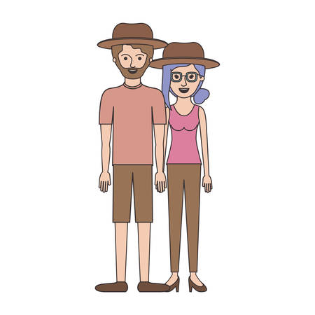 couple colorful silhouette and both with hat and him with beard with t-shirt and short pants and shoes and her with glasses t-shirt sleeveless and pants and heel shoes with collected hair and fringe vector illustration Vectores