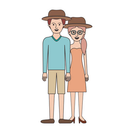 couple colorful silhouette and both with hat and him with sweater and short pants and shoes and her with glasses strapless dress and heel shoes with pigtail hairstyle vector illustration Illustration