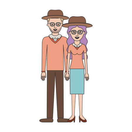 couple colorful silhouette and both with hat and glasses and him with stubble beard and sweater and pants and shoes and her with blouse and skirt and heel shoes with long wavy hair vector illustration Stock Vector - 90434783