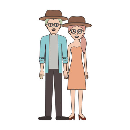 couple colorful silhouette and both with hat and glasses and him with shirt and jacket and pants and shoes and her with strapless dress and heel shoes with pigtail hairstyle vector illustration