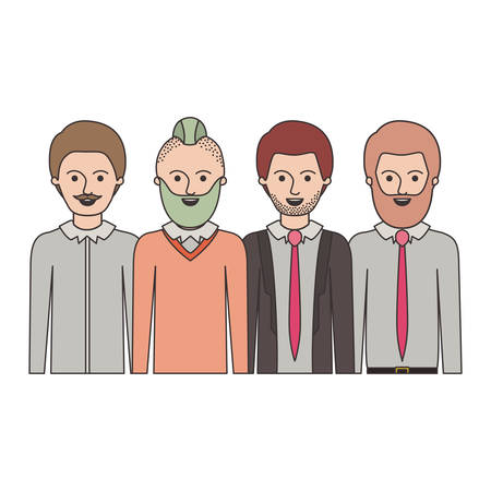 men in half body with casual clothes with short hair and some with beard and moustache in colorful silhouette vector illustration Illustration