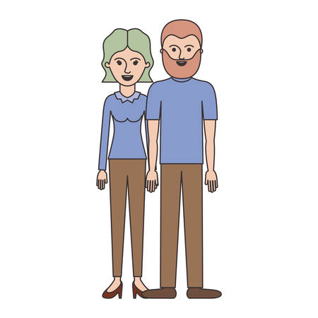 couple colorful silhouette and her with blouse long sleeve and pants and heel shoes with short wavy hair and him with t-shirt and pants and shoes with short hair and beard vector illustration