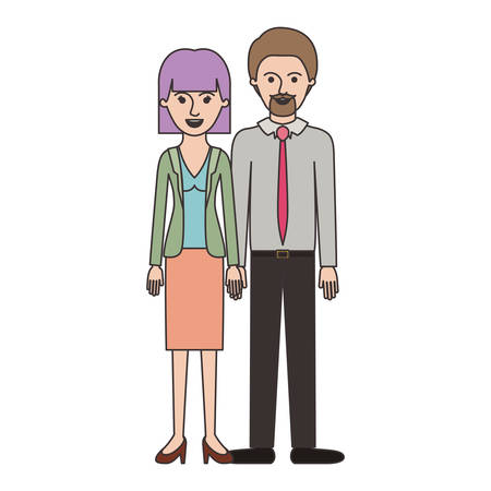 couple colorful silhouette and her with blouse and jacket and skirt and heel shoes with mushroom hairstyle and him with shirt and tie and pants and shoes with short hair and goatee beard vector illustration