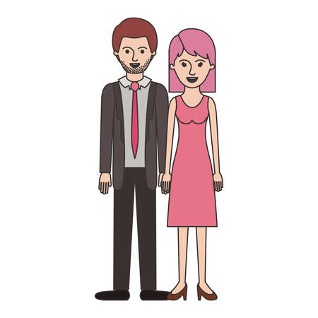 couple colorful silhouette and him with suit and tie and pants and shoes with short hair and stubble beard and her with dress and heel shoes with mid length hair vector illustration