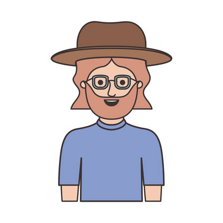 man half body with hat and glasses and t-shirt with mid length hair and beard on colorful silhouette vector illustration Vectores