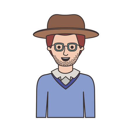 man half body with hat and glasses and sweater with stubble beard on colorful silhouette vector illustration
