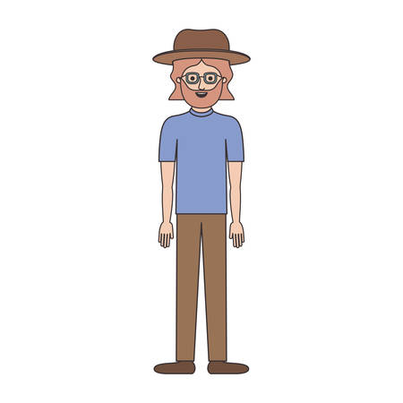 man with hat and glasses and t-shirt and pants and shoes with mid length hair and beard on colorful silhouette vector illustration Vectores