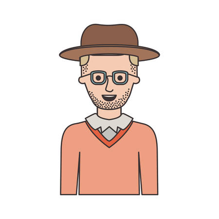 man half body with hat and glasses and sweater with short hair and stubble beard on colorful silhouette vector illustration Stock Vector - 90534808