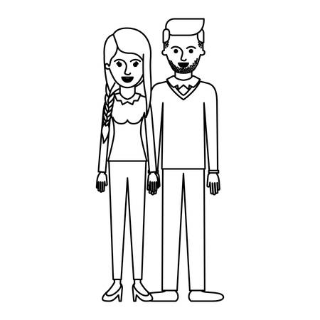 couple monochrome silhouette and her with blouse long sleeve and pants and heel shoes with braid and fringe hairstyle and him stubble beard and sweater and pants and shoes with side parted hairstyle vector illustration Illustration