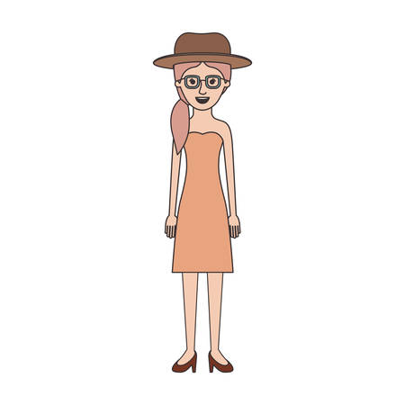 woman with hat and glasses and strapless dress and heel shoes with pigtail hairstyle in colorful silhouette vector illustration