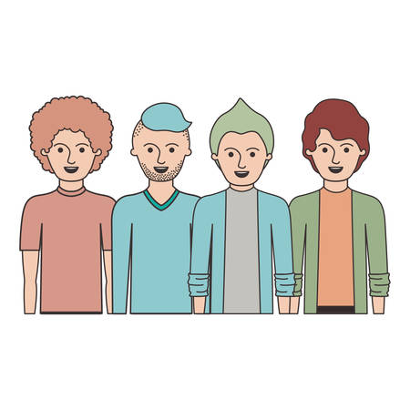 men in half body with casual clothes with short hair and hairstyles different in colorful silhouette vector illustration