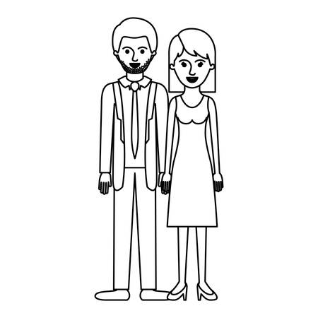 couple monochrome silhouette and him with suit and tie and pants and shoes with short hair and stubble beard and her with dress and heel shoes with mid length hair vector illustration