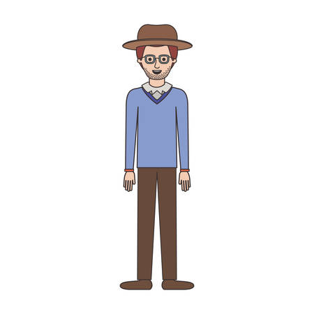 man with hat and glasses and sweater and pants and shoes with stubble beard on colorful silhouette vector illustration Illustration
