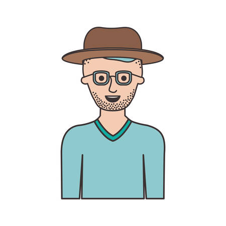 man half body with hat and glasses and sweater with short hair and stubble beard in colorful silhouette vector illustration Illustration