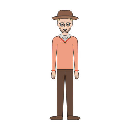 man with hat and glasses and sweater and pants and shoes with short hair and stubble beard on colorful silhouette vector illustration